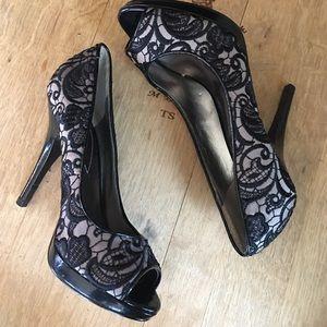 Guess Shoes - Guess Lace Platform Nude Black Stilettos 6.5